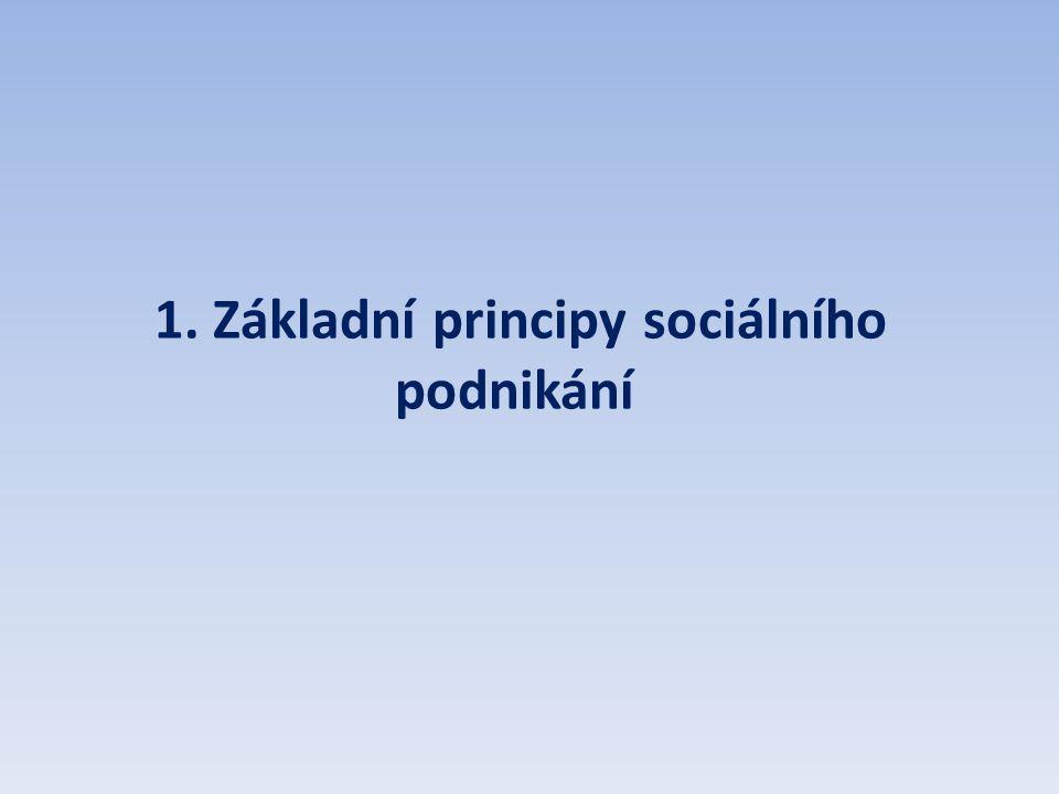 1. Základní principy sociálního podnikání