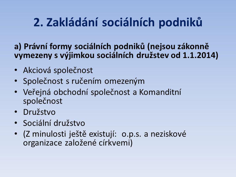 2. Zakládání sociálních podniků a) Právní formy sociálních podniků (nejsou zákonně vymezeny s výjimkou sociálních družstev od 1.1.2014) Akciová společ