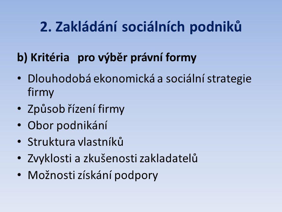 2. Zakládání sociálních podniků b) Kritéria pro výběr právní formy Dlouhodobá ekonomická a sociální strategie firmy Způsob řízení firmy Obor podnikání