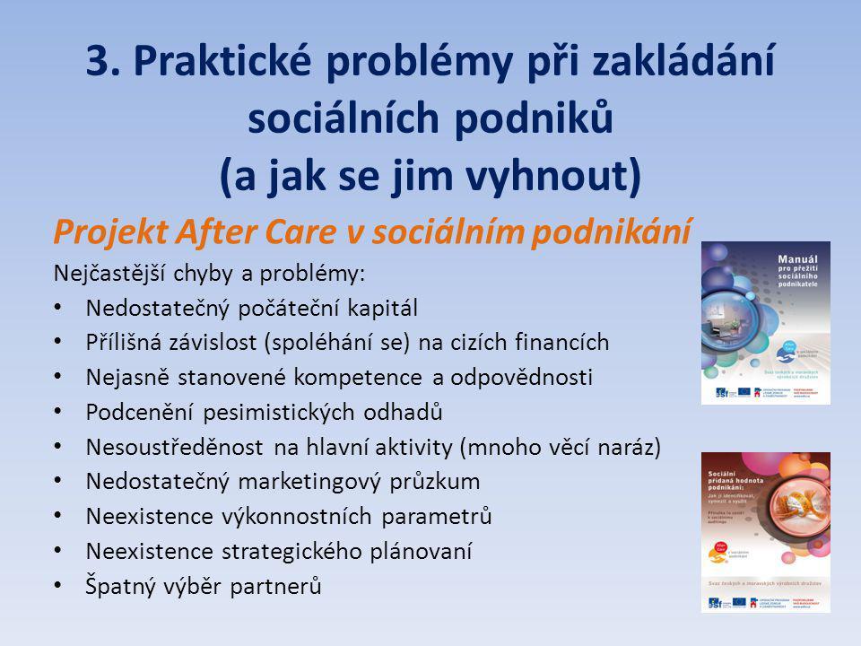 3. Praktické problémy při zakládání sociálních podniků (a jak se jim vyhnout) Projekt After Care v sociálním podnikání Nejčastější chyby a problémy: N