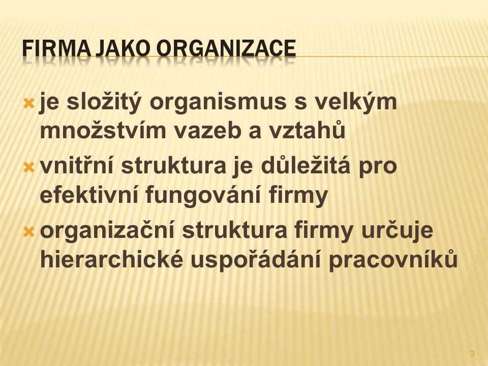  je složitý organismus s velkým množstvím vazeb a vztahů  vnitřní struktura je důležitá pro efektivní fungování firmy  organizační struktura firmy