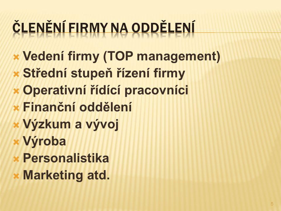  Vedení firmy (TOP management)  Střední stupeň řízení firmy  Operativní řídící pracovníci  Finanční oddělení  Výzkum a vývoj  Výroba  Personalistika  Marketing atd.
