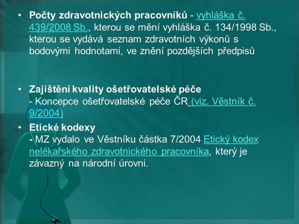 Počty zdravotnických pracovníků - vyhláška č.439/2008 Sb., kterou se mění vyhláška č.