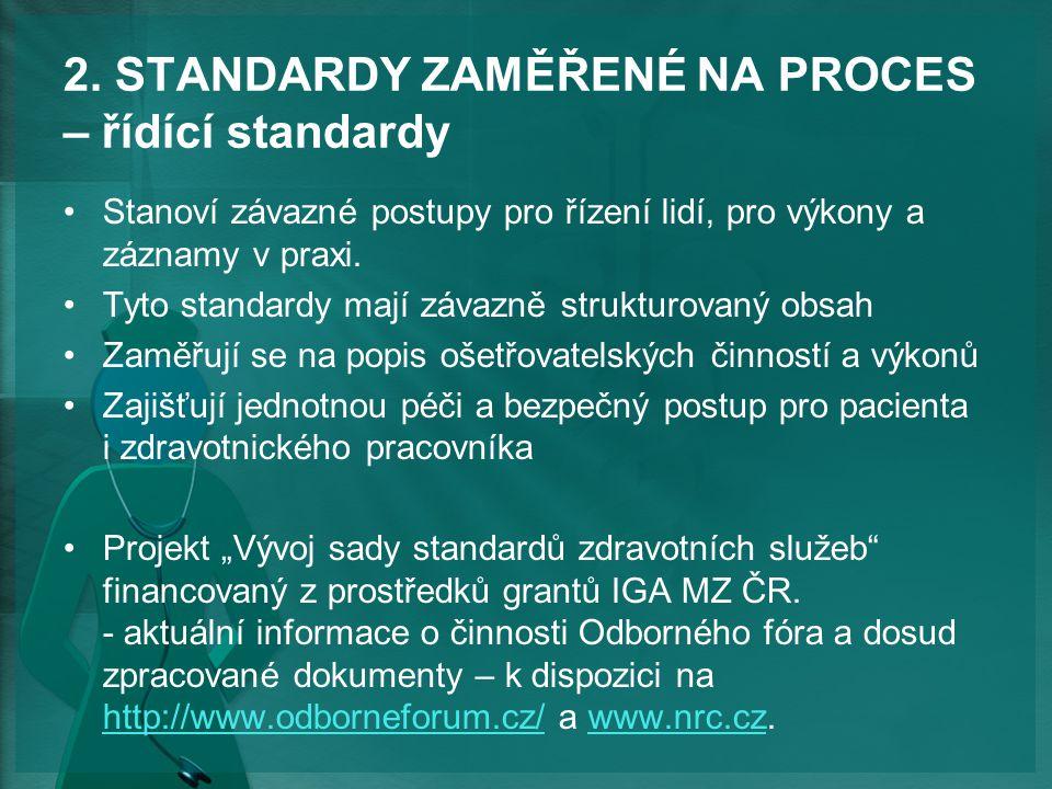 2. STANDARDY ZAMĚŘENÉ NA PROCES – řídící standardy Stanoví závazné postupy pro řízení lidí, pro výkony a záznamy v praxi. Tyto standardy mají závazně