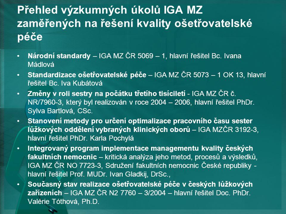 Přehled výzkumných úkolů IGA MZ zaměřených na řešení kvality ošetřovatelské péče Národní standardy – IGA MZ ČR 5069 – 1, hlavní řešitel Bc.