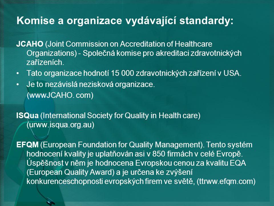 Komise a organizace vydávající standardy: JCAHO (Joint Commission on Accreditation of Healthcare Organizations) - Společná komise pro akreditaci zdravotnických zařízeních.
