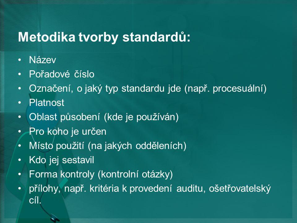 Metodika tvorby standardů: Název Pořadové číslo Označení, o jaký typ standardu jde (např.