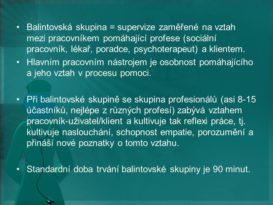 Balintovská skupina = supervize zaměřené na vztah mezi pracovníkem pomáhající profese (sociální pracovník, lékař, poradce, psychoterapeut) a klientem.