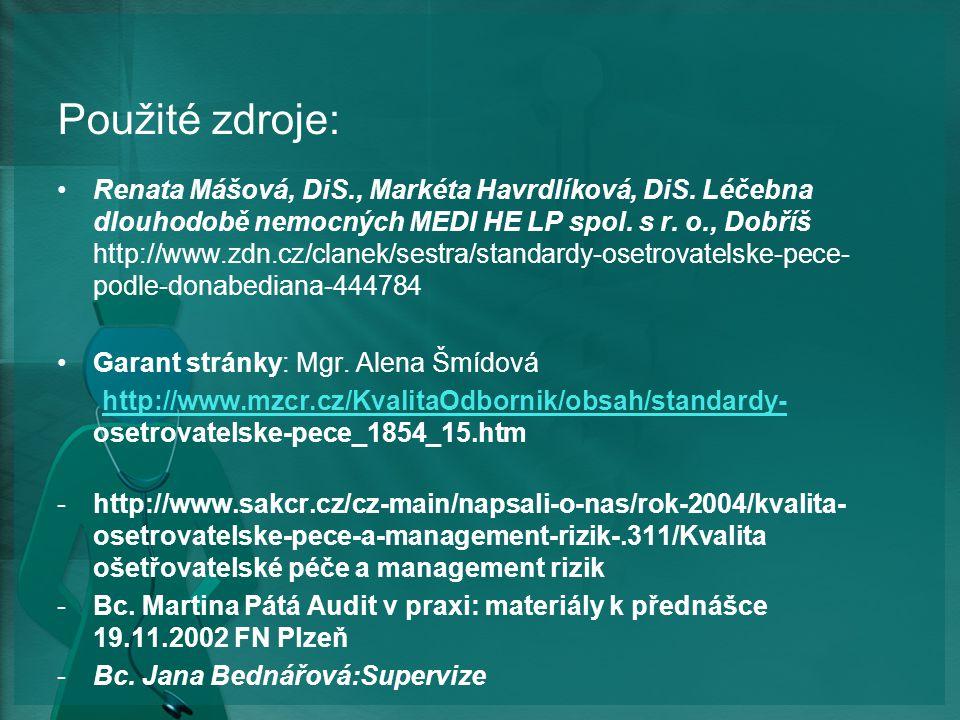 Použité zdroje: Renata Mášová, DiS., Markéta Havrdlíková, DiS.
