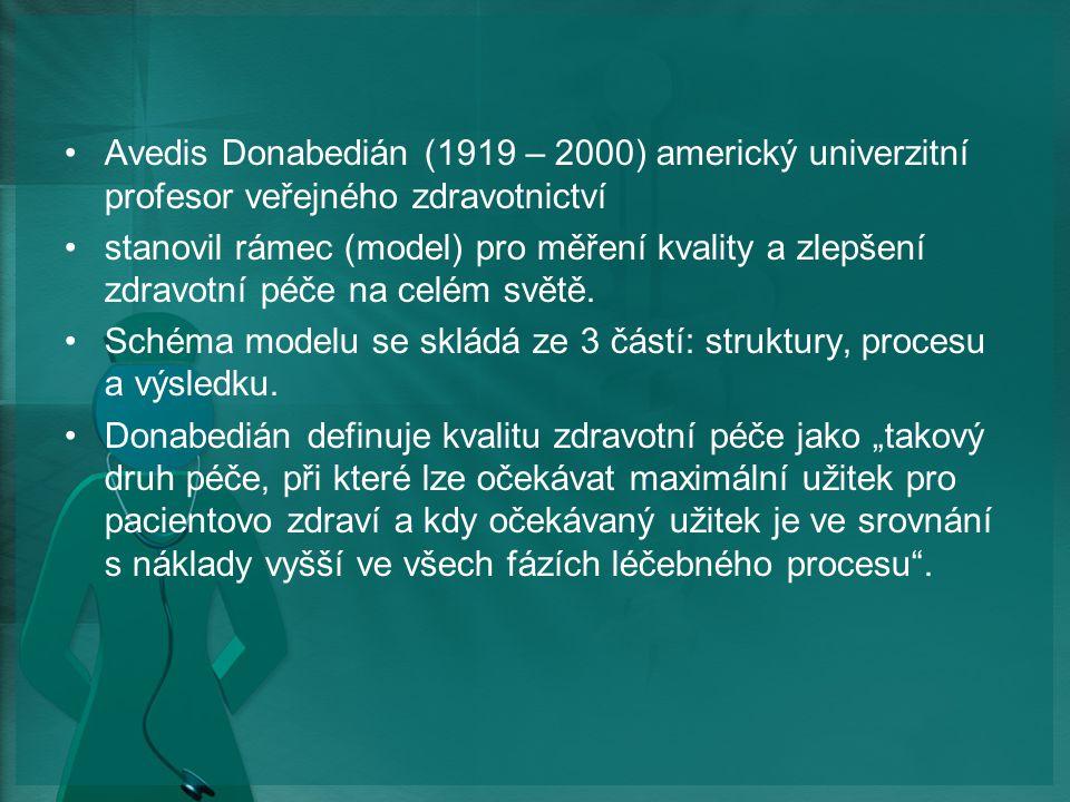 Avedis Donabedián (1919 – 2000) americký univerzitní profesor veřejného zdravotnictví stanovil rámec (model) pro měření kvality a zlepšení zdravotní péče na celém světě.