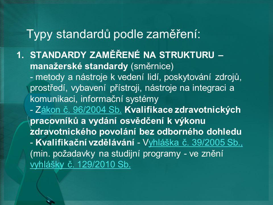 Typy standardů podle zaměření: 1.STANDARDY ZAMĚŘENÉ NA STRUKTURU – manažerské standardy (směrnice) - metody a nástroje k vedení lidí, poskytování zdrojů, prostředí, vybavení přístroji, nástroje na integraci a komunikaci, informační systémy - Zákon č.