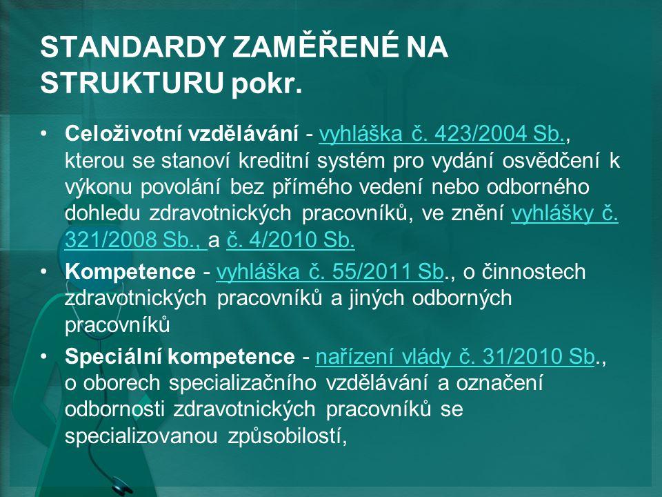 STANDARDY ZAMĚŘENÉ NA STRUKTURU pokr.Celoživotní vzdělávání - vyhláška č.