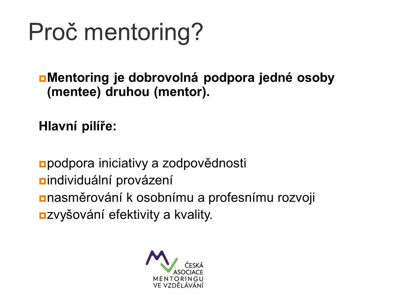 Proč mentoring?  Mentoring je dobrovolná podpora jedné osoby (mentee) druhou (mentor). Hlavní pilíře:  podpora iniciativy a zodpovědnosti  individu