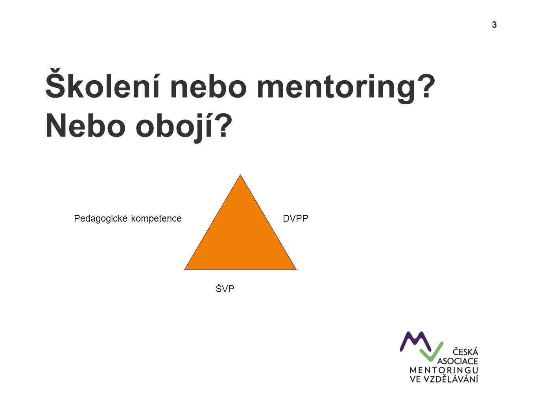 3 Školení nebo mentoring? Nebo obojí? DVPP ŠVP Pedagogické kompetence