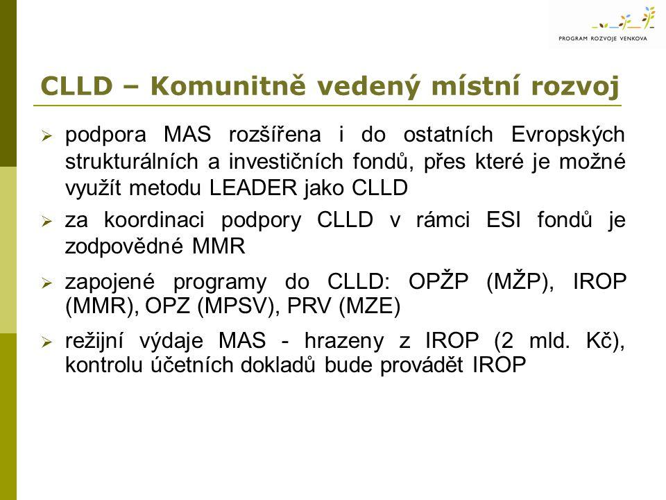 CLLD – Komunitně vedený místní rozvoj  podpora MAS rozšířena i do ostatních Evropských strukturálních a investičních fondů, přes které je možné využít metodu LEADER jako CLLD  za koordinaci podpory CLLD v rámci ESI fondů je zodpovědné MMR  zapojené programy do CLLD: OPŽP (MŽP), IROP (MMR), OPZ (MPSV), PRV (MZE)  režijní výdaje MAS - hrazeny z IROP (2 mld.