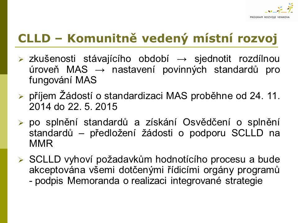 CLLD – Komunitně vedený místní rozvoj  zkušenosti stávajícího období → sjednotit rozdílnou úroveň MAS → nastavení povinných standardů pro fungování MAS  příjem Žádostí o standardizaci MAS proběhne od 24.