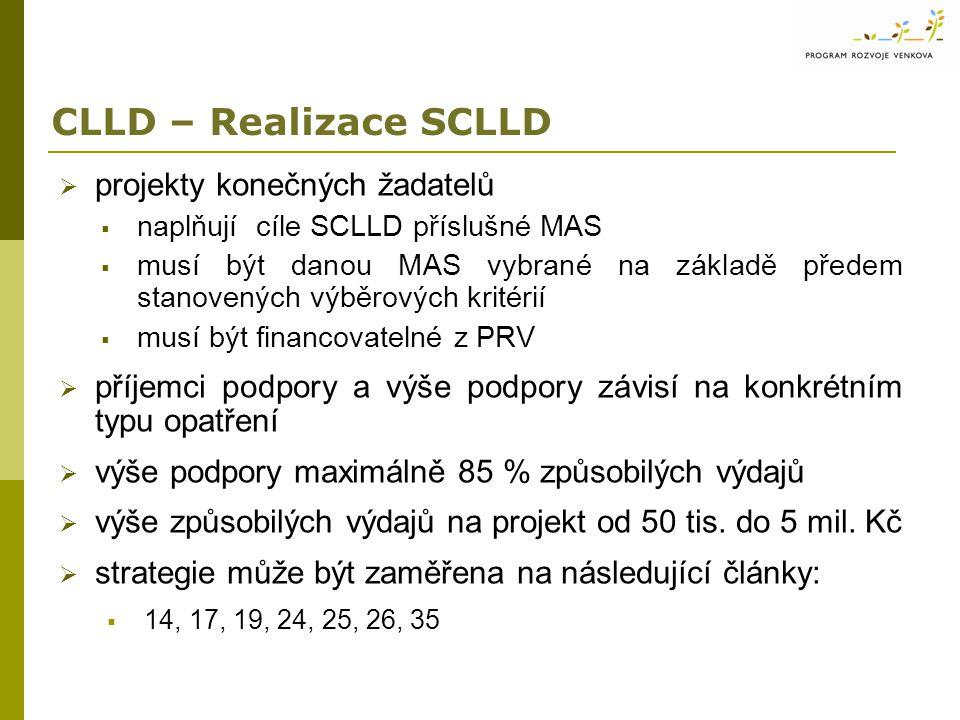 CLLD – Realizace SCLLD  projekty konečných žadatelů  naplňují cíle SCLLD příslušné MAS  musí být danou MAS vybrané na základě předem stanovených výběrových kritérií  musí být financovatelné z PRV  příjemci podpory a výše podpory závisí na konkrétním typu opatření  výše podpory maximálně 85 % způsobilých výdajů  výše způsobilých výdajů na projekt od 50 tis.