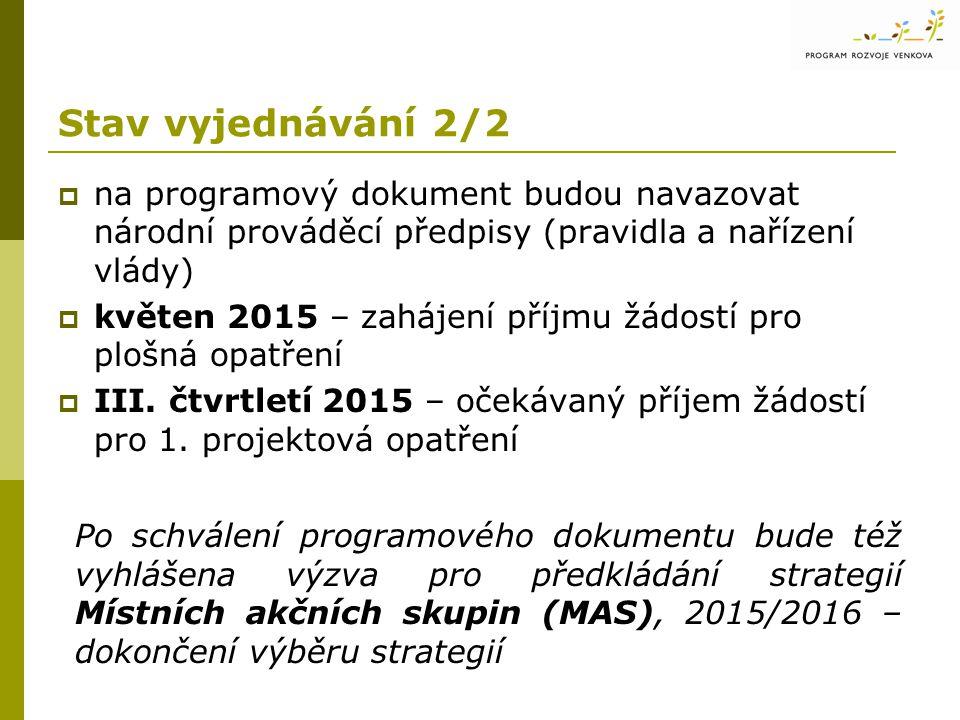Stav vyjednávání 2/2  na programový dokument budou navazovat národní prováděcí předpisy (pravidla a nařízení vlády)  květen 2015 – zahájení příjmu žádostí pro plošná opatření  III.