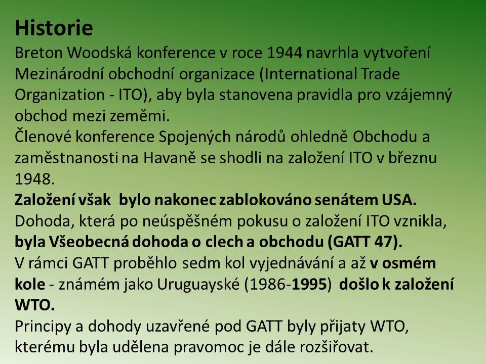 Historie Breton Woodská konference v roce 1944 navrhla vytvoření Mezinárodní obchodní organizace (International Trade Organization - ITO), aby byla stanovena pravidla pro vzájemný obchod mezi zeměmi.