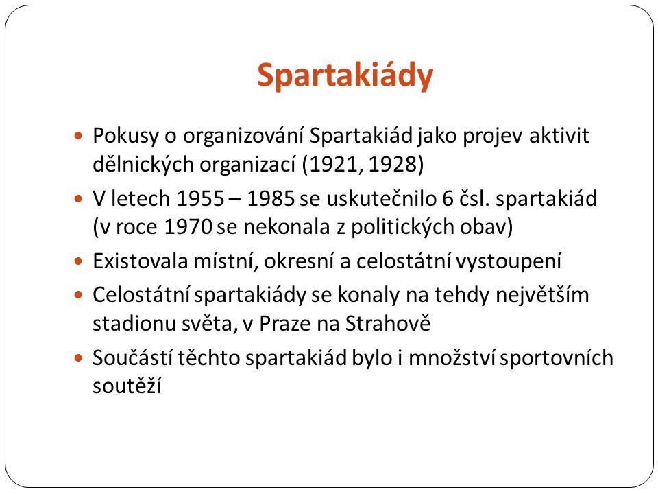 Spartakiády Pokusy o organizování Spartakiád jako projev aktivit dělnických organizací (1921, 1928) V letech 1955 – 1985 se uskutečnilo 6 čsl.