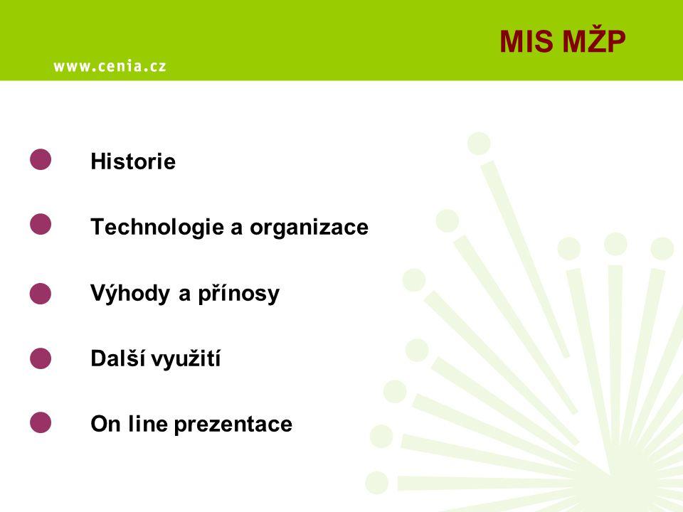Historie Technologie a organizace Výhody a přínosy Další využití On line prezentace MIS MŽP