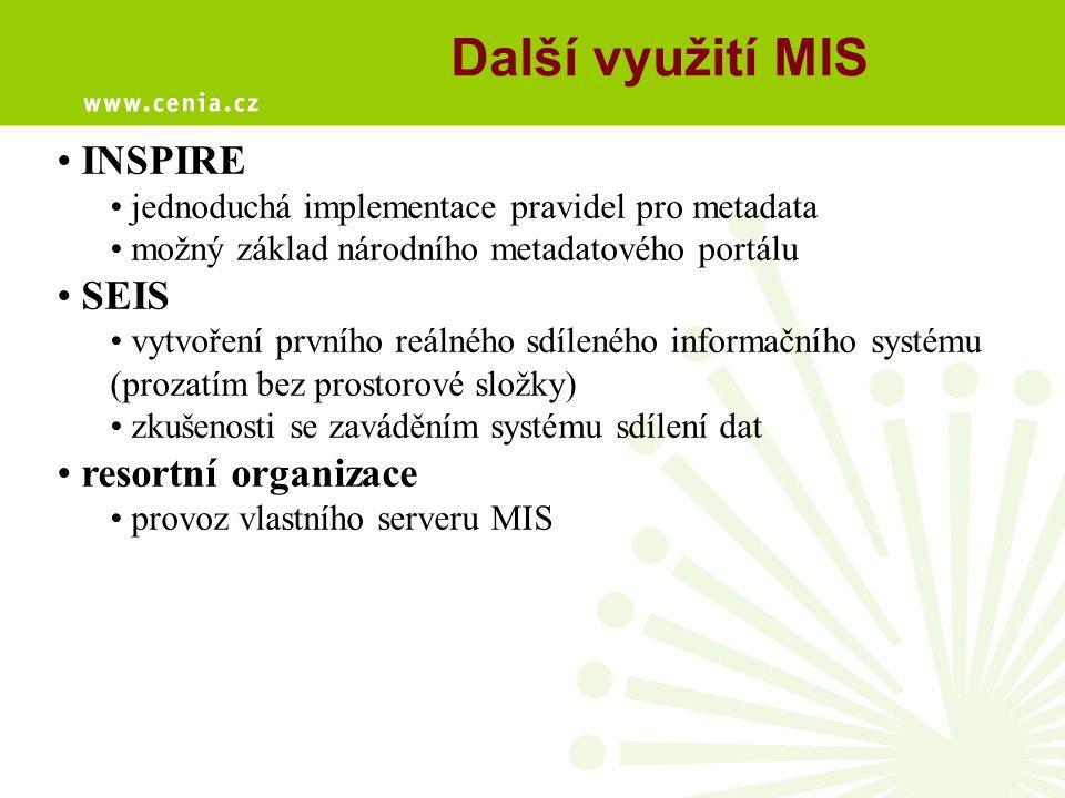 Další využití MIS INSPIRE jednoduchá implementace pravidel pro metadata možný základ národního metadatového portálu SEIS vytvoření prvního reálného sd