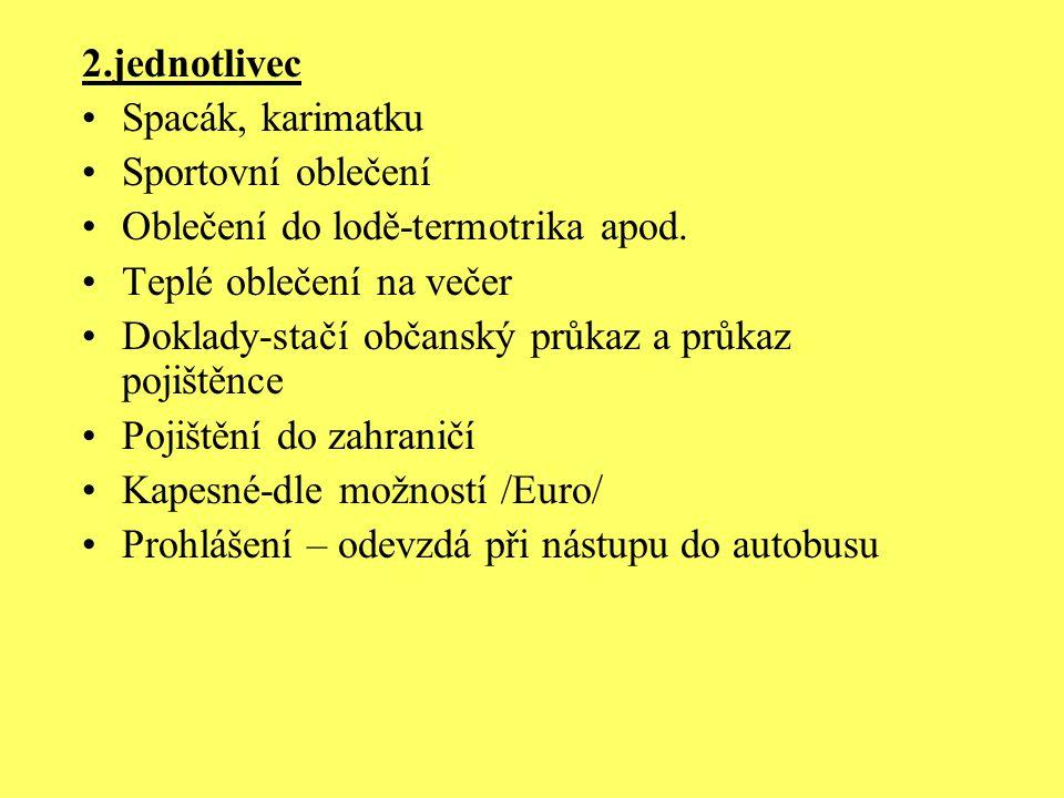2.jednotlivec Spacák, karimatku Sportovní oblečení Oblečení do lodě-termotrika apod.