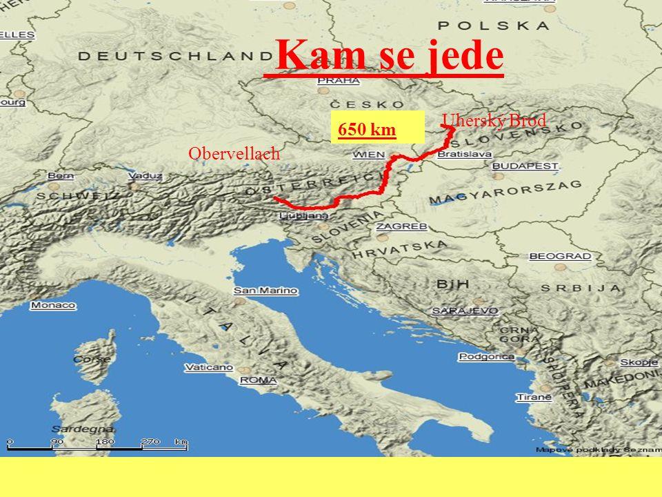 Kam se jede Obervellach Uherský Brod 650 km
