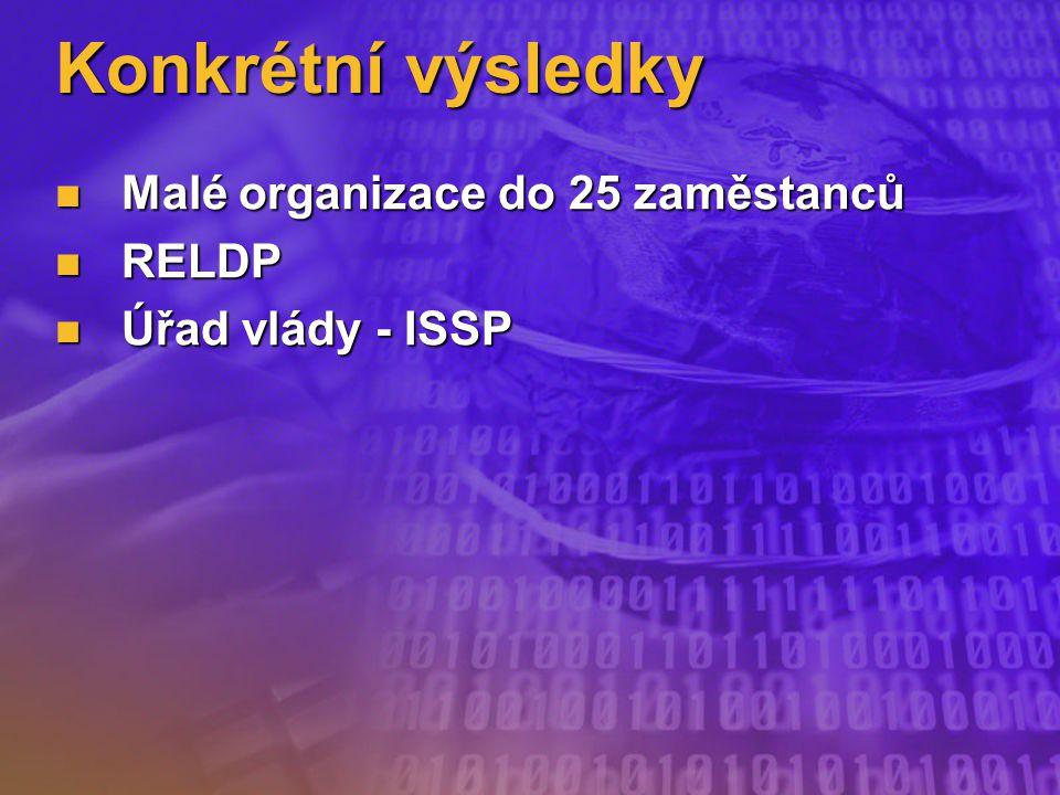 Konkrétní výsledky Malé organizace do 25 zaměstanců Malé organizace do 25 zaměstanců RELDP RELDP Úřad vlády - ISSP Úřad vlády - ISSP