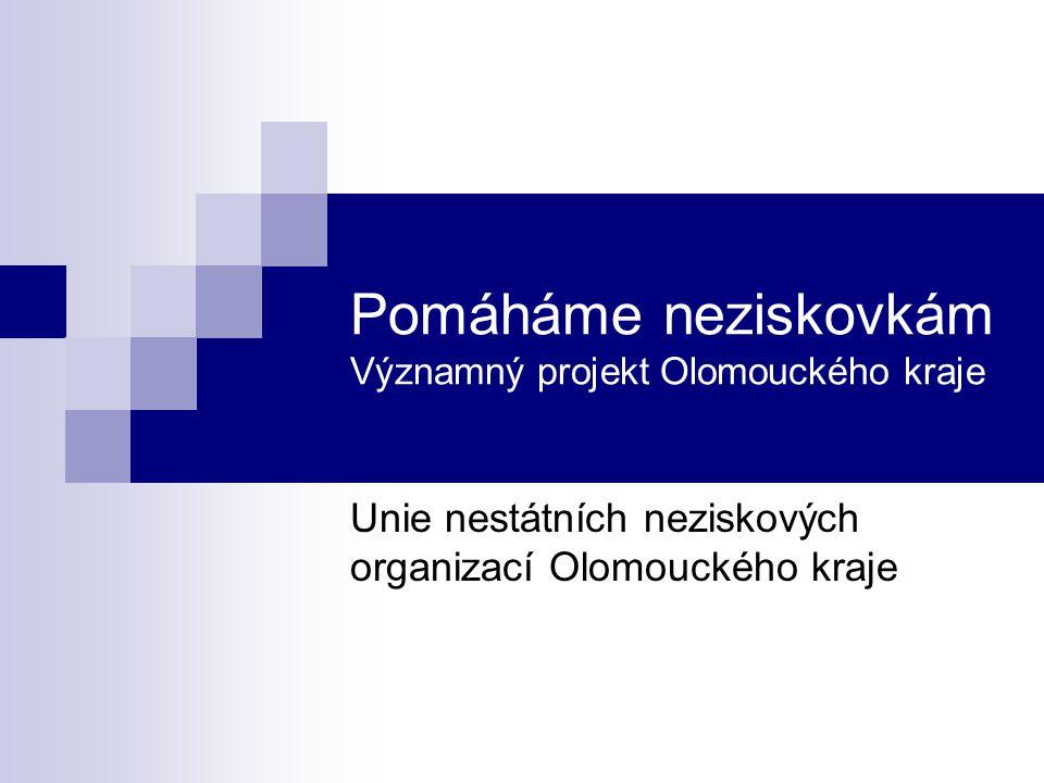 Pomáháme neziskovkám Iniciátorem projektu je Unie nestátních neziskových organizací Olomouckého kraje (UNO) UNO je občanské sdružení bez právní subjektivity – UNO nemůže podat projekt UNO může pověřit jinou organizaci k realizaci projektu Projekt připravil, podal a realizoval Nadační ústav regionální spolupráce, o.p.s.
