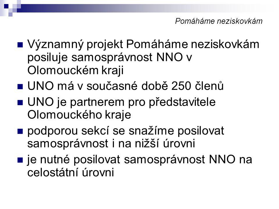 Pomáháme neziskovkám Významný projekt Pomáháme neziskovkám posiluje samosprávnost NNO v Olomouckém kraji UNO má v současné době 250 členů UNO je partn