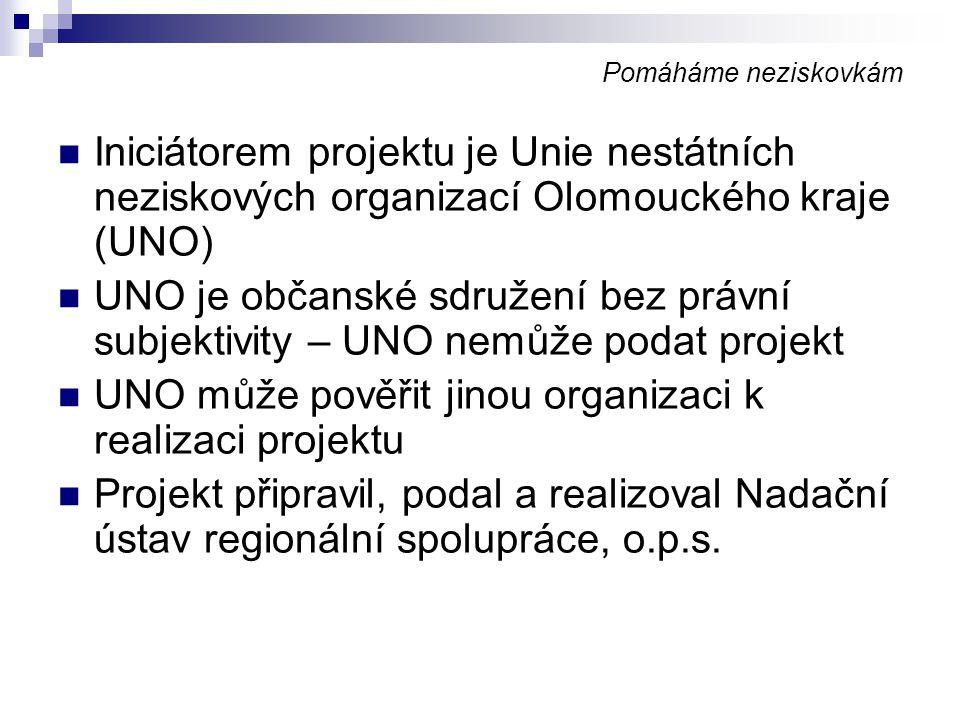 Pomáháme neziskovkám Iniciátorem projektu je Unie nestátních neziskových organizací Olomouckého kraje (UNO) UNO je občanské sdružení bez právní subjek