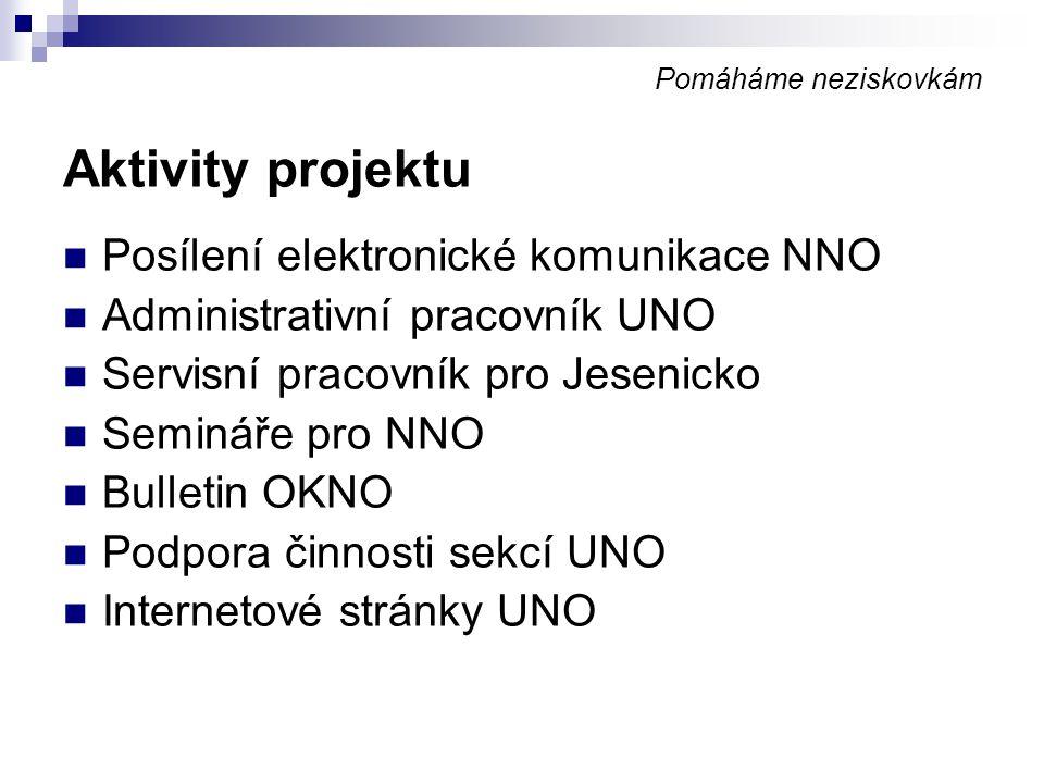 Pomáháme neziskovkám Aktivity projektu Posílení elektronické komunikace NNO Administrativní pracovník UNO Servisní pracovník pro Jesenicko Semináře pr