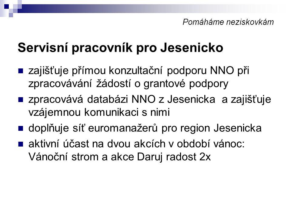 Pomáháme neziskovkám Servisní pracovník pro Jesenicko zajišťuje přímou konzultační podporu NNO při zpracovávání žádostí o grantové podpory zpracovává