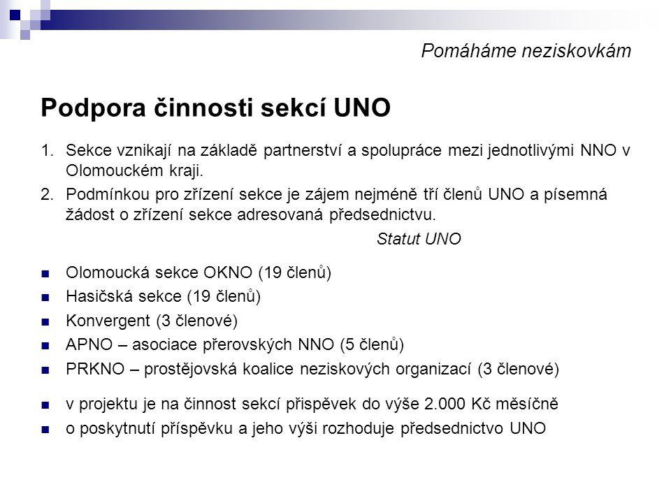 Pomáháme neziskovkám Internetové stránky UNO vlastní stránky UNO www.uno-ok.cz z projektu financována redaktorka internetových stránek stránky jsou postaveny na redakčním systému Joomla, který umožňuje širší zapojení při správě stránek z projektu byly financovány programové úpravy a design stránek