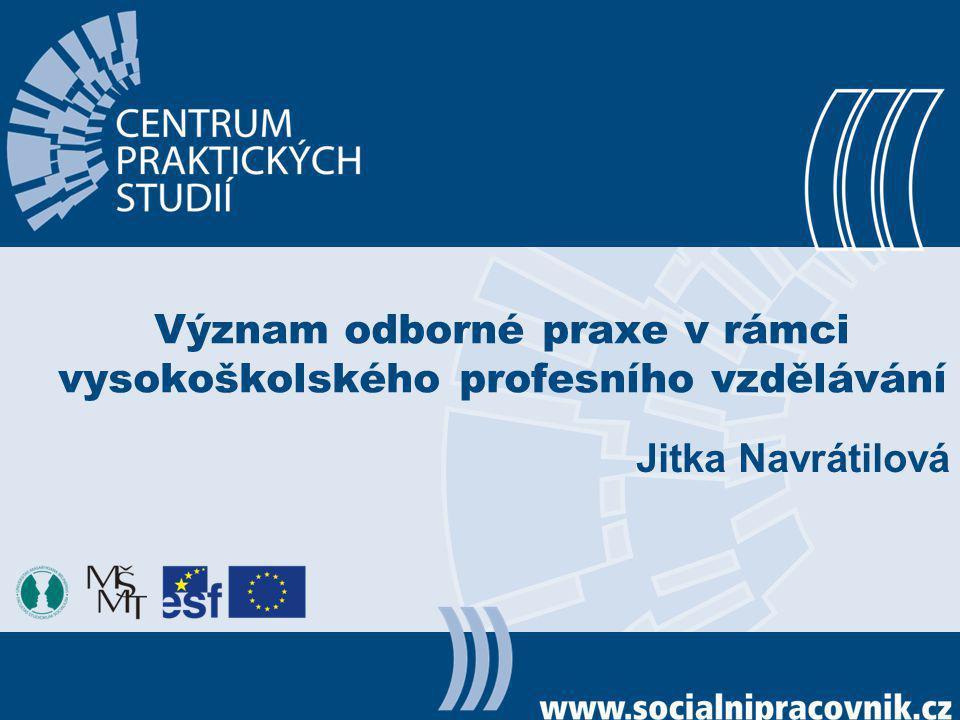 Význam odborné praxe v rámci vysokoškolského profesního vzdělávání Jitka Navrátilová