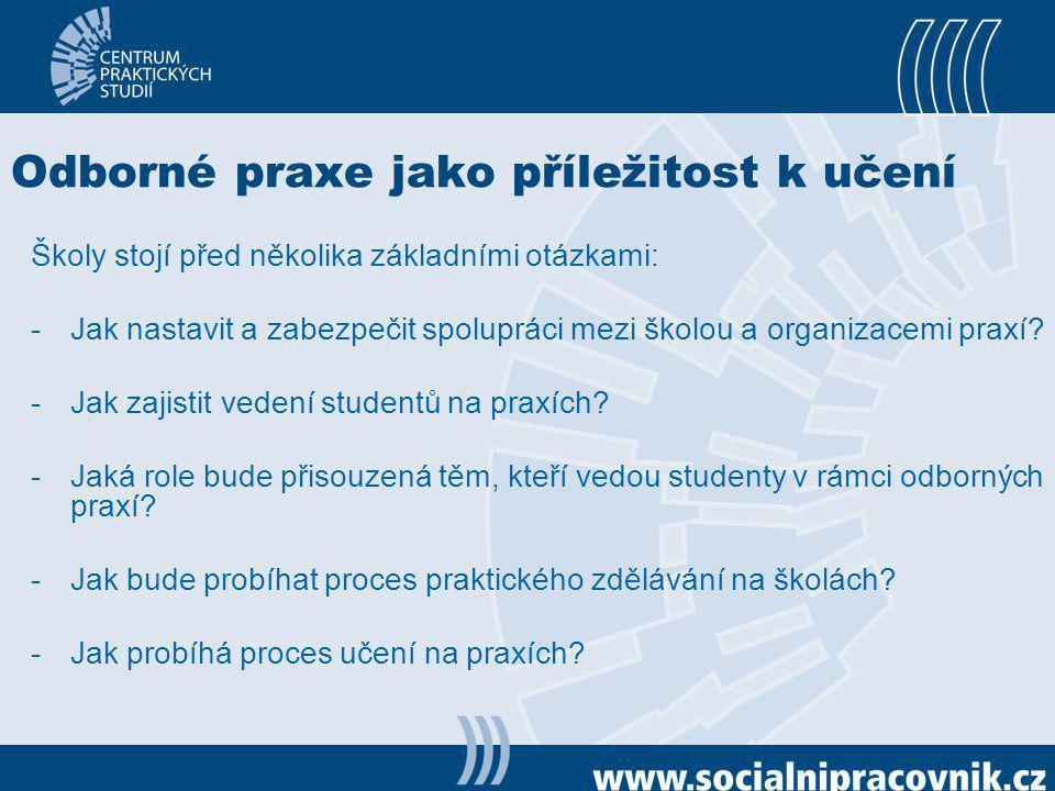 Hlavní pilíře praktického vzdělávání Škola Organizace poskytující praxi Instruktoři praxí