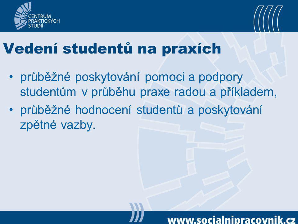 Vedení studentů na praxích průběžné poskytování pomoci a podpory studentům v průběhu praxe radou a příkladem, průběžné hodnocení studentů a poskytován