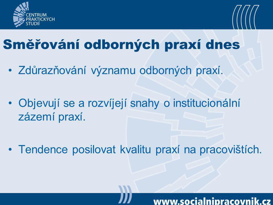 Směřování odborných praxí dnes Zdůrazňování významu odborných praxí. Objevují se a rozvíjejí snahy o institucionální zázemí praxí. Tendence posilovat