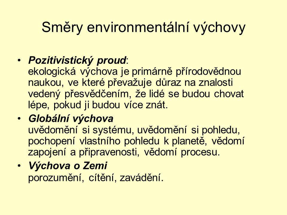 Směry environmentální výchovy Pozitivistický proud: ekologická výchova je primárně přírodovědnou naukou, ve které převažuje důraz na znalosti vedený přesvědčením, že lidé se budou chovat lépe, pokud ji budou více znát.