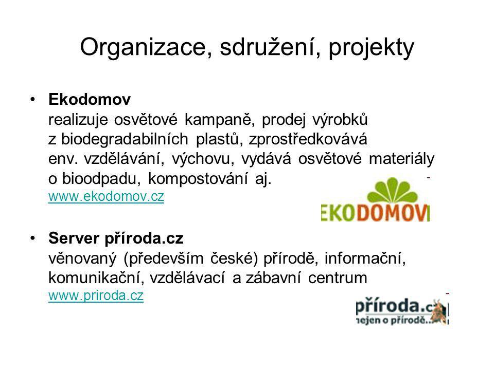 Organizace, sdružení, projekty Ekodomov realizuje osvětové kampaně, prodej výrobků z biodegradabilních plastů, zprostředkovává env.