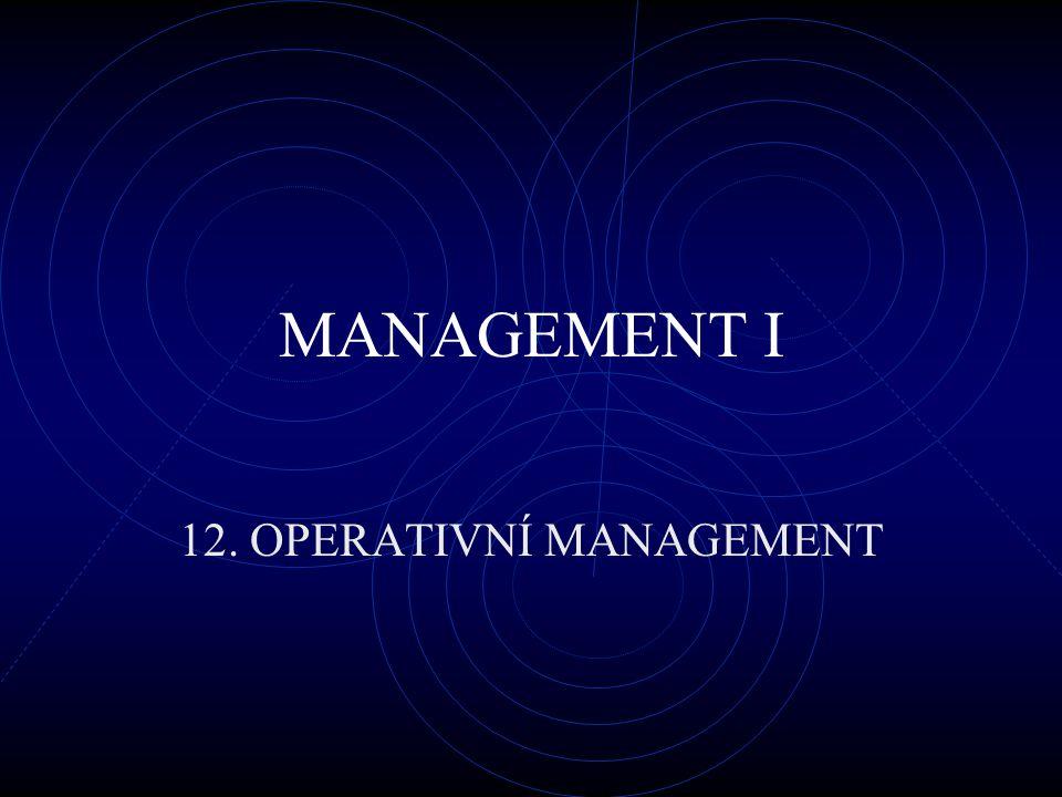 MANAGEMENT I 12. OPERATIVNÍ MANAGEMENT