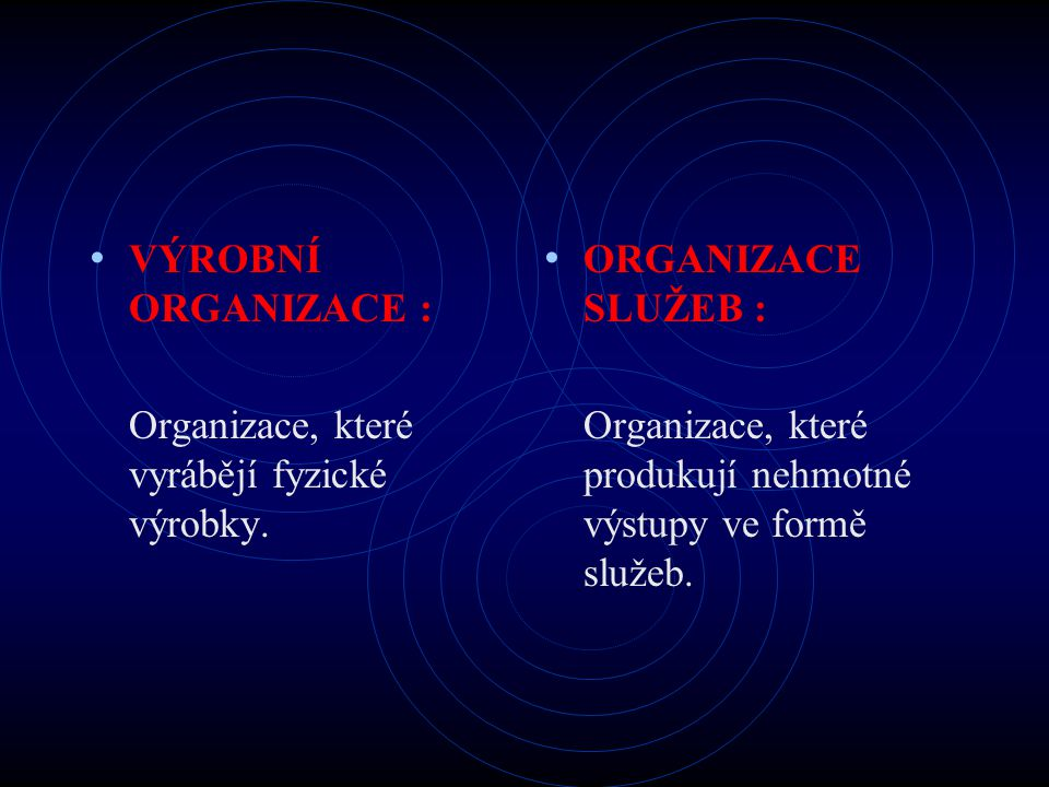 VÝROBNÍ ORGANIZACE : Organizace, které vyrábějí fyzické výrobky. ORGANIZACE SLUŽEB : Organizace, které produkují nehmotné výstupy ve formě služeb.