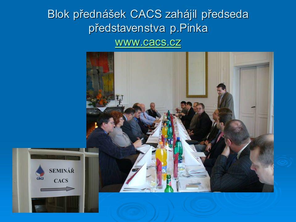 Blok přednášek CACS zahájil předseda představenstva p.Pinka www.cacs.cz www.cacs.cz