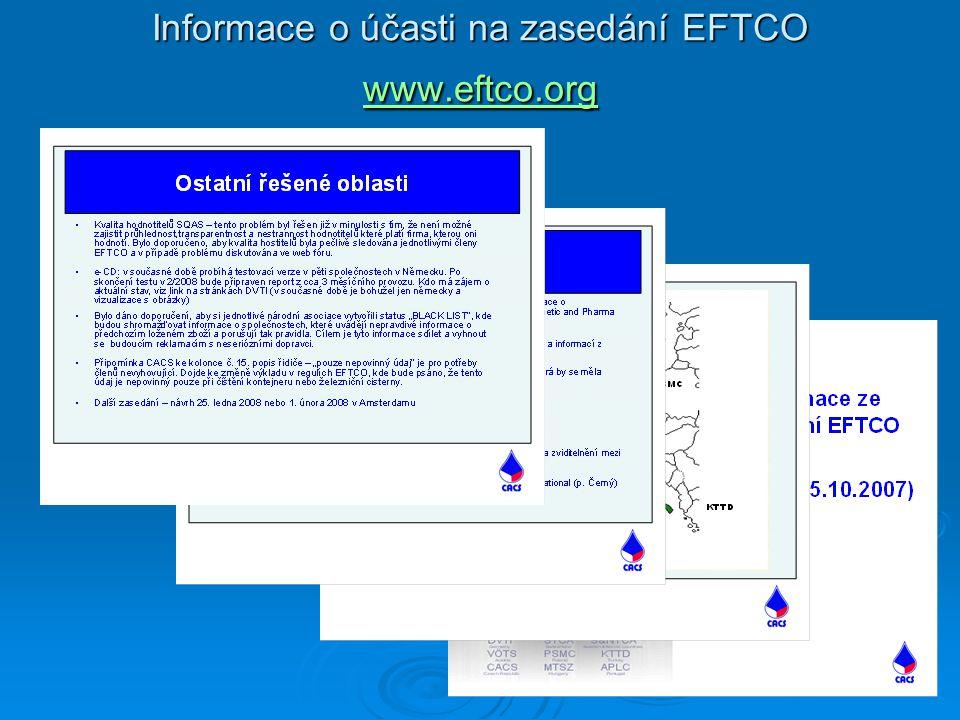 Informace o účasti na zasedání EFTCO www.eftco.org www.eftco.org