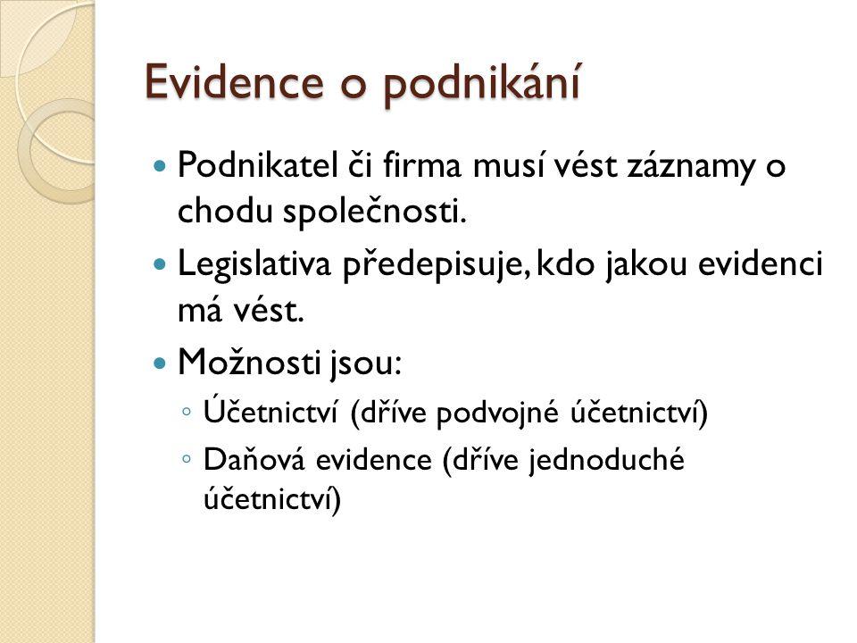 Účetnictví Účetnictví (dříve podvojné účetnictví) je předepsáno zákonem o účetnictví.