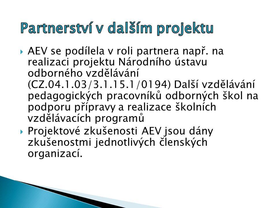  AEV se podílela v roli partnera např.