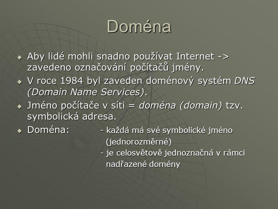 """ Kořenová doména = nejvyšší doména v Internetu, označuje se """".  TLD (top-level domains)-domény nejvyšší úrovně: - zeměpisné (.cz,.us,.sk,.de,.uk, …) - vycházejí z charakteru organizace :.com (commercial) – komerční organizace.com (commercial) – komerční organizace.edu (education) – vzdělávací instituce.edu (education) – vzdělávací instituce.gov (government) – vládní organizace.gov (government) – vládní organizace.mil (military) – armáda.mil (military) – armáda.net (network) – síťově zaměřené organizace.net (network) – síťově zaměřené organizace.org (non-profit organization) – neziskové organizace.org (non-profit organization) – neziskové organizace - časem ještě další domény (.shop,.tel,.news,..) - časem ještě další domény (.shop,.tel,.news,..) nabízejí rozšíření registrací pod doménou.com."""