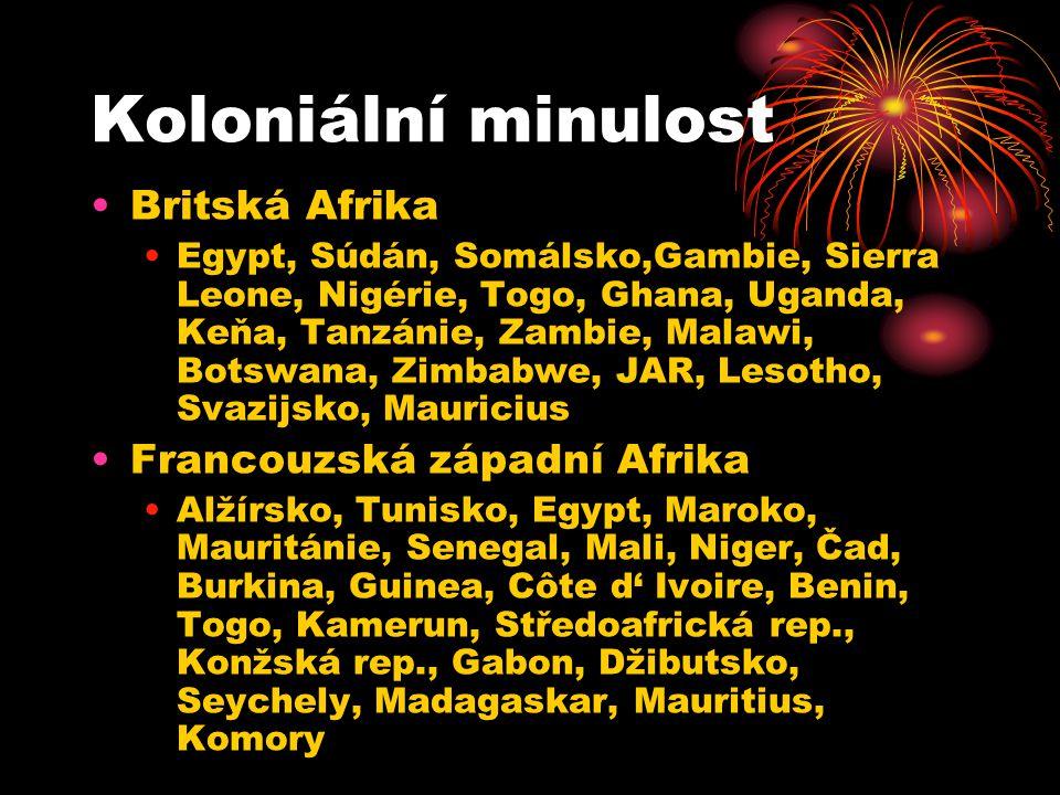 Koloniální minulost Britská Afrika Egypt, Súdán, Somálsko,Gambie, Sierra Leone, Nigérie, Togo, Ghana, Uganda, Keňa, Tanzánie, Zambie, Malawi, Botswana