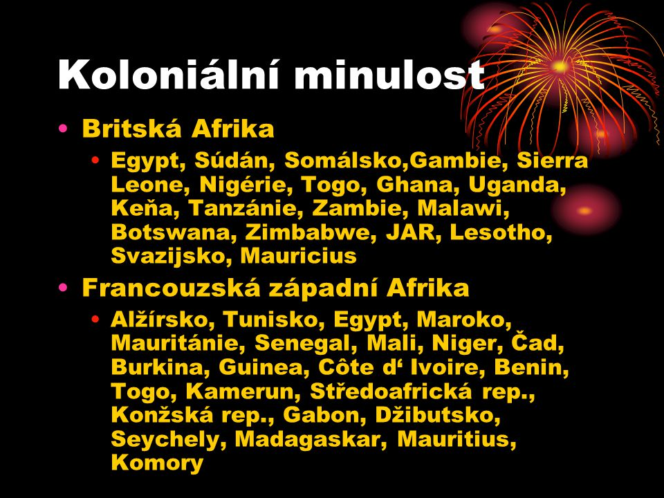 Belgie Kongo, Burundi, Rwanda Německo Rwanda, Burundi, Namibie, Tanzánie Portugalsko Guinea-Bissau, Sv.